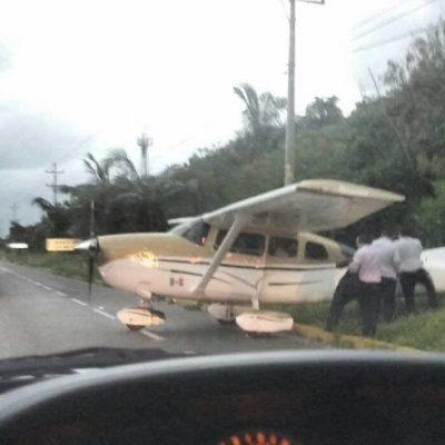 ¡SUSTAZO DE FREDY MARRUFO!: Aterriza de emergencia avioneta donde viajaba alcalde de Cozumel en plena carretera Cancún-Puerto Morelos