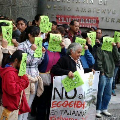 'CLAUSURAN' PROFEPA, SEMARNAT Y FONATUR: Por devastación en Malecón Tajamar Cancún, realiza PRD protestas en el DF y exige reparar daños
