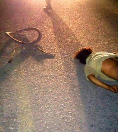 Fallece ciclista atropellado el último día del 2015 en carretera del sur de Quintana Roo