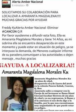 Buscan a menor de 14 años reportada como desaparecida en Cancún