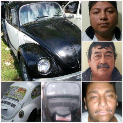 ROBAR 'VOCHOS', SU ESPECIALIDAD: Capturan a 2 integrantes de banda de robacarros y a un comprador de 'chueco' en Cancún