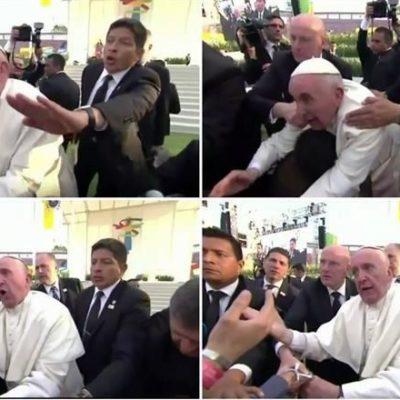 """""""¡NO SEAS EGOISTA!"""": Se enoja el Papa con un joven que lo jaló y lo hizo caer sobre un discapacitado"""