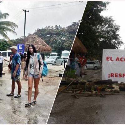 ESCALA CONFLICTO POR ENTRADA A PLAYA EN AKUMAL: Turistas quedan atrapados entre dos bloqueos por disputa por la privatización de acceso