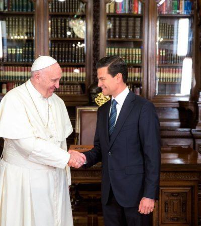 FECHA HISTÓRICA… DEL RETROCESO DEL ESTADO LAICO: Francisco, el primer Papa que entra a Palacio Nacional