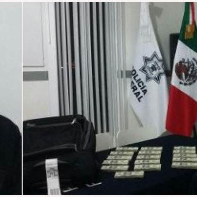 CAE COLOMBIANO EN EL AEROPUERTO: Detienen en Cancún a hombre con más de 250 mil dólares escondidos en un doble fondo de su maleta