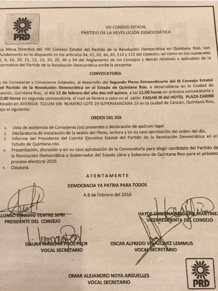 FALSIFICAN CONVOCATORIA DEL PRD: Acusan al Gobernador de tratar de boicotear nominación de Carlos Joaquín como candidato de una gran alianza