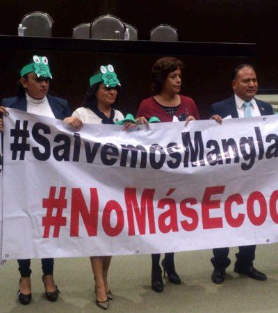 EXIGEN COMISIÓN ESPECIAL POR TAJAMAR: Diputados del PRD protestaron con mantas en San Lázaro contra tala de manglar en Cancún