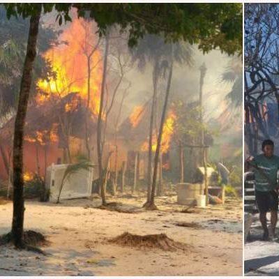 QUEMAZÓN EN ZONA HOTELERA DE TULUM: Un corto circuito provoca incendio que consume 13 cabañas del hotel 'Zebra' en la franja costera