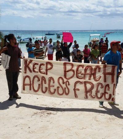 REPUDIAN PRIVATIZACIÓN DE PLAYA: Realizan marcha para protestar contra cierre de acceso al mar en Akumal