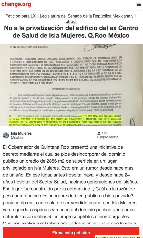Lanzan a través de change.org iniciativa para recabar firmas contra privatización de hospital en Isla Mujeres