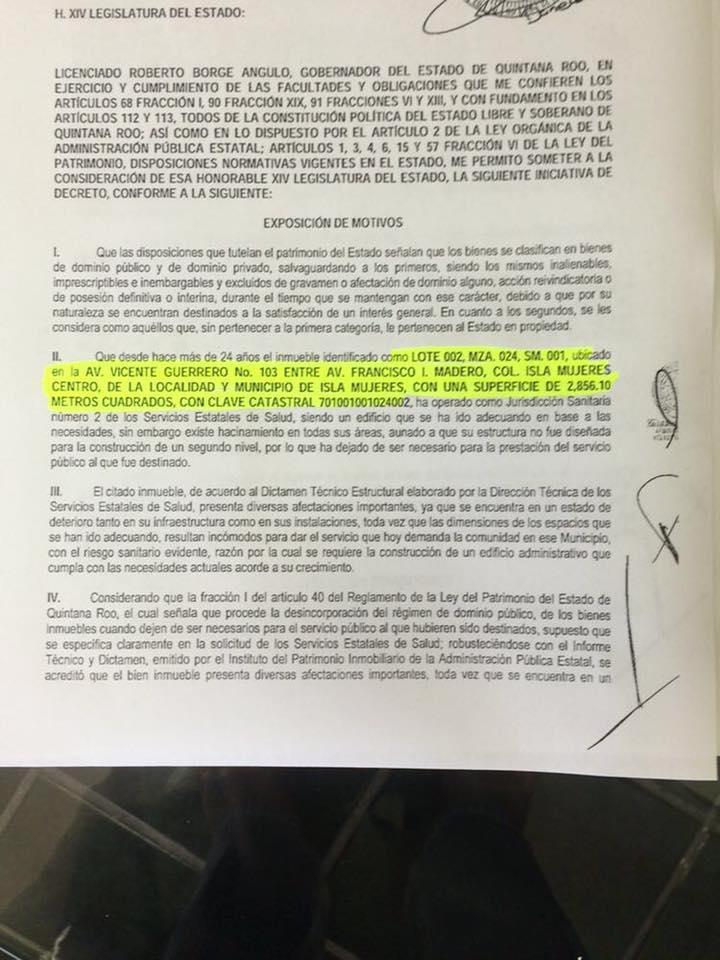 BUSCA BORGE VENDER HOSPITAL EN IM: Envía decreto para cambiar a dominio privado predio del sector salud; exige Julián Ricalde explicación