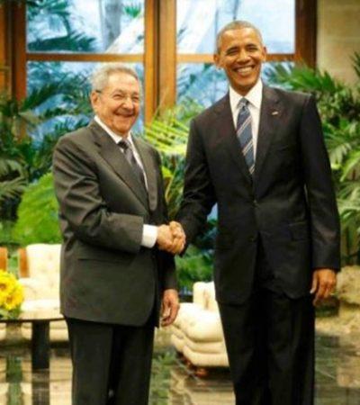 EU Y CUBA, FRENTE A FRENTE: Obama y Raúl Castro se reúnen en el Palacio de la Revolución en visita histórica