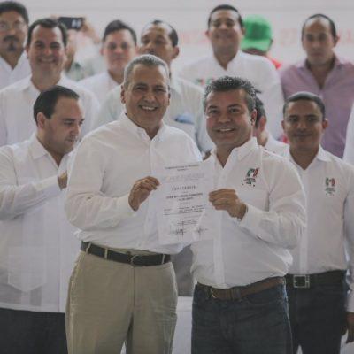 OFICIALIZA PRI CANDIDATURA DE MAURICIO: Con un discurso de 'unidad', Beltrones unge frente a Borge al candidato de Félix a la gubernatura de QR