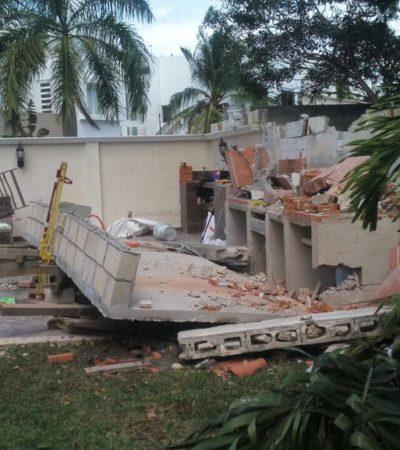 OTRO DERRUMBE EN CANCÚN: Muere albañil aplastado por una barda que construía en el fraccionamiento residencial Villa Magna