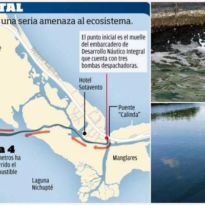 MANCHA CONTAMINACIÓN A CANCÚN: Derrame de diesel se extiende por el Sistema Lagunar Nichupté y llega hasta el Malecón Tajamar, documenta diario