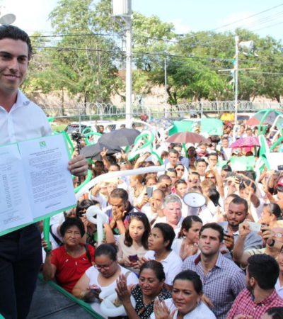 """""""YO TE LO JURO QUE YO NO FUI"""": Arropado por el PRI, se registra Remberto Estrada como precandiato del PVEM en Cancún y se desliga del reparto de despensas"""