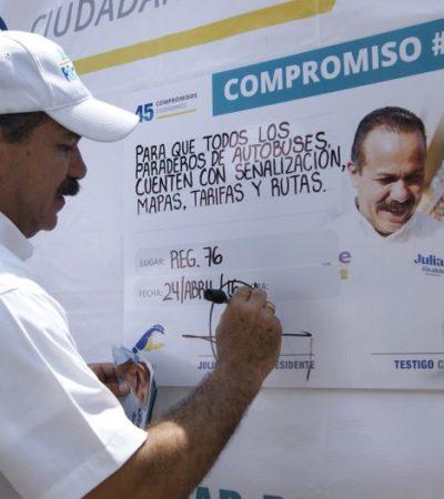 Se compromete Julián Ricalde a mejorar paraderos de Cancún y pavimentar con concreto hidráulico calles de la Región 96
