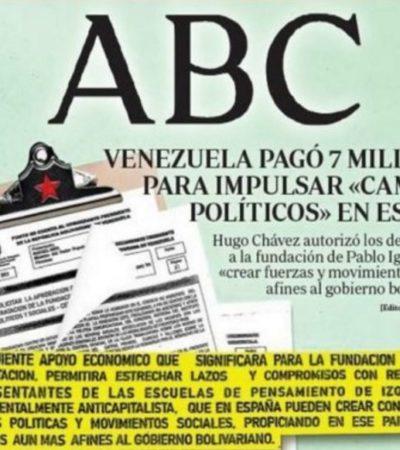"""Revelan que Chávez financió con 7 mde el nacimiento de Podemos para """"extender el movimiento bolivariano en España"""""""