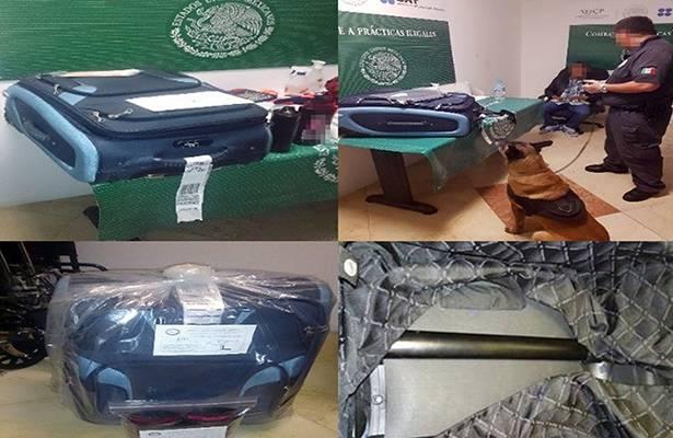Procedente de Panamá, interceptan a peruano con 3 kilos de cocaína en su maleta en aeropuerto de Cancún