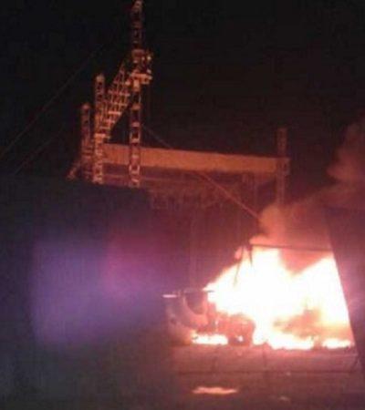 DISTURBIOS POR CANCELACIÓN DE CONCIERTO DEL 'EL KOMANDER': Fanáticos prenden fuego al escenario y a vehículos en Tula