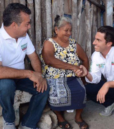 Acompañado de Mauricio, recorre Remberto la Región 101 de Cancún; la seguridad, tema prioritario, dice