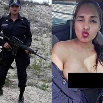Suspenden a mujer policía de Nuevo León por 'selfie hot' con uniforme y arma
