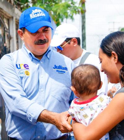 Promete Julián Ricalde internet gratuito, calles de concreto hidráulico y pozos de absorción para la R-92 de Cancún