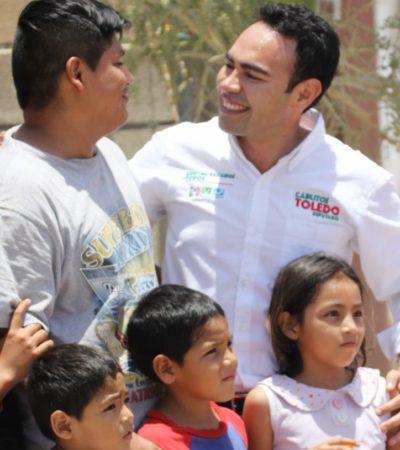Recorre Carlos Toledo la colonia Ejido Tulum en busca del voto por el Distrito IX