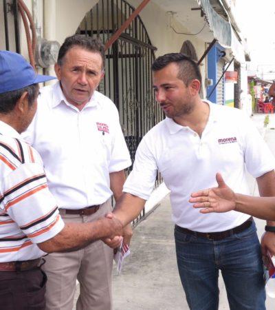 Inicia Pech Várguez su campaña con una caminata en el poblado de Subteniente López, en el sur de QR