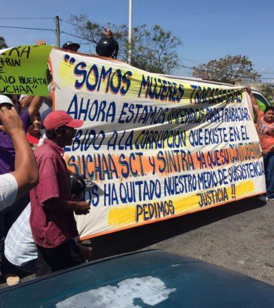 Denuncian chóferes y socios de combis extorsión del líder del Suchaa