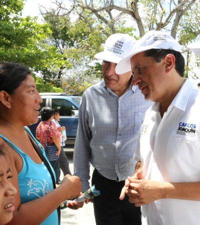 Fortalecer infraestructura educativa y dotar de útiles y uniformes a los niños quintanarroenses, promete Carlos Joaquín