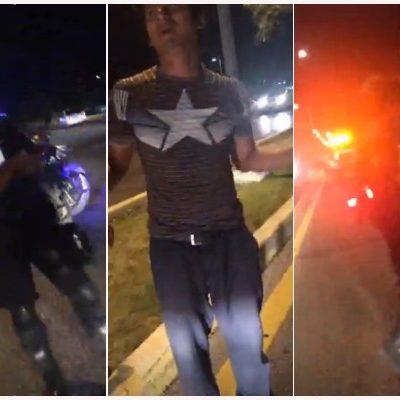CON LAS MANOS EN LA PROPAGANDA… Y LOS DEJAN IR: Policías evitan detener a 3 jóvenes contratados para quitar publicidad de Carlos Joaquín en Cancún