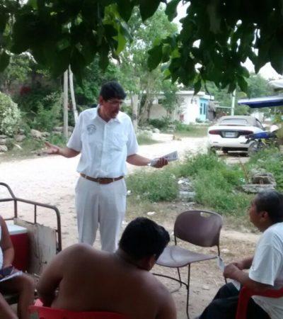 Constata candidato independiente de Puerto Morelos atraso y abandono del poblado Leona Vicario