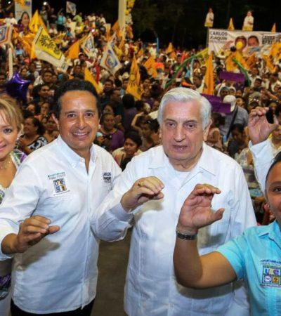 """""""Ya ganamos, hay que defender el voto"""", aseguran Carlos Joaquín y Cristina Torres en Playa del Carmen"""