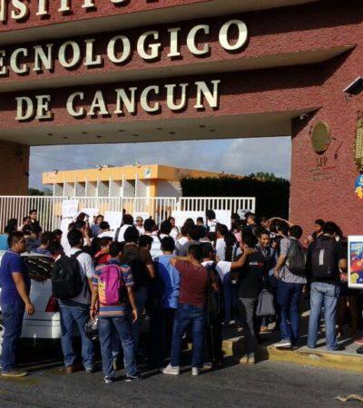 PARO EN EL TECNOLÓGICO DE CANCÚN: Después de un año sin director, protestan alumnos por deficiencias del plantel y educativas que nadie atiende