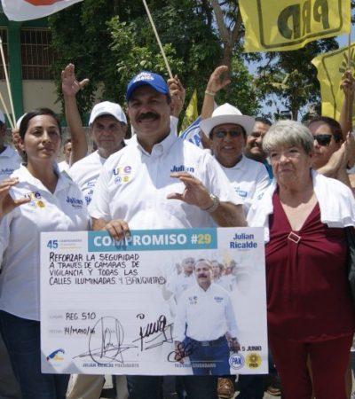 Cámaras de vigilancias y alumbrado público para combatir el delito, promete Julián Ricalde