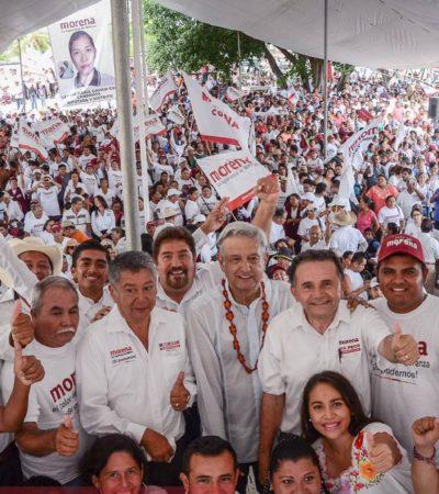 """""""EL PUEBLO SE CANSA DE TANTA PINCHE TRANSA"""": Acude AMLO a Cancún para participar en el cierre de campaña de Pech Várguez"""
