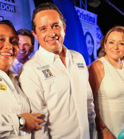 Cierre espectacular de campaña de Cristina Torres y Carlos Joaquín en Solidaridad