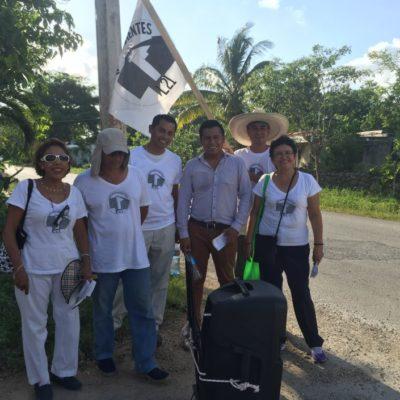 Continúa campaña de información candidato independiente en Puerto Morelos