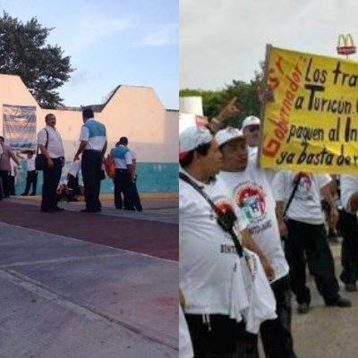 PARO DE LABORES EN TURICÚN: En demanda de mejores prestaciones, choferes paralizan 120 unidades de al menos 6 rutas del transporte urbano de Cancún