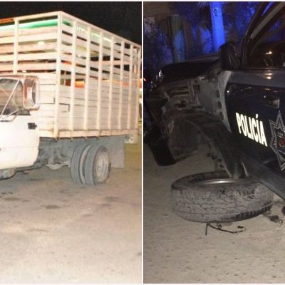 PERSECUCIÓN Y DISPAROS POR EL ALCOHOLÍMETRO: Ebrio conductor de camioneta daña patrullas y lesiona a dos policías en su intento de fuga en Cancún
