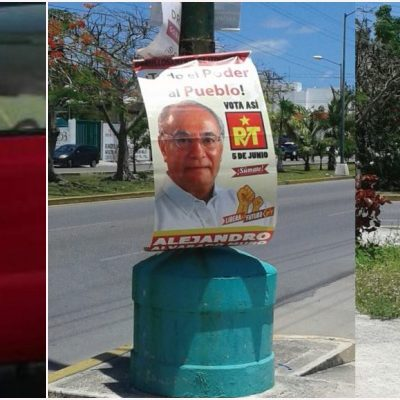 """""""ENTRE MÁS SE MUEVE, MÁS SE HUNDE"""": Cachan a camioneta de organización priista 'sembrando' propaganda de 'candidatos comparsa'; Alvarado se deslinda"""