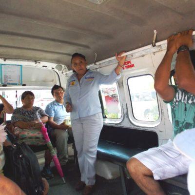Se sube Cristina Torres a combis y camiones y dice que Solidaridad requiere un transporte digno y eficiente