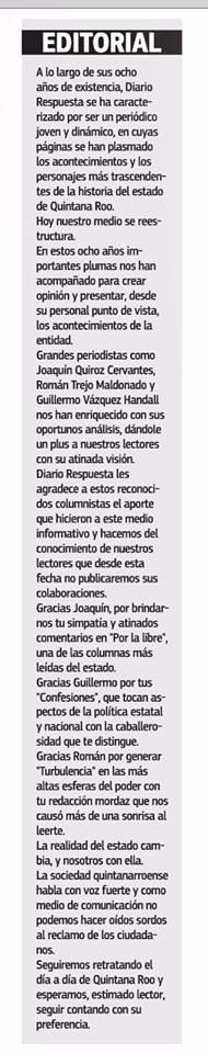'GUILLOTINAN' A 'COLUMNISTAS' IMPRESENTABLES: El borgista diario 'Respuesta' despide a  Joaquín Quiroz, Román Trejo y Vázquez Handall para tratar de salvarse