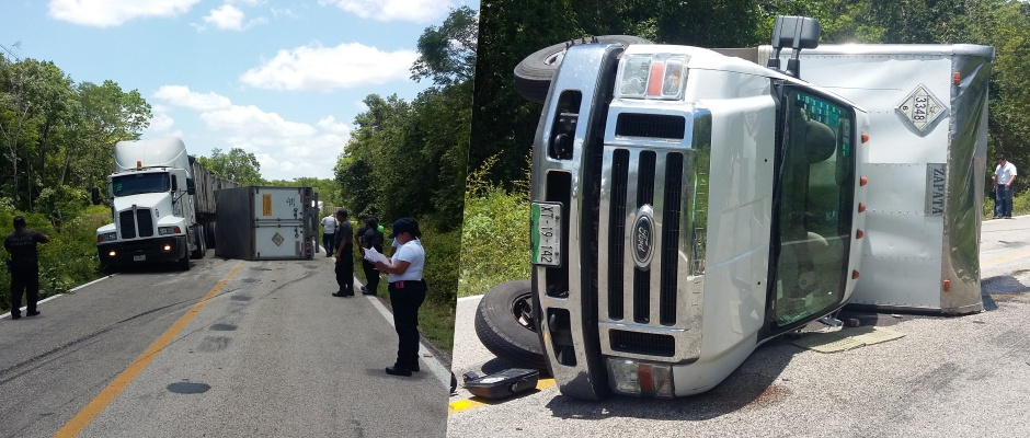 Se vuelca camión que transportaba agroquímicos en las 'Curvas del Diablo' de JMM