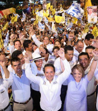 LE DA CARLOS TRATO DE PORTERO DE FUTBOL A MAURICIO: En el cierre de campaña junto a Julián Ricalde, le llueven al candidato priista… las críticas
