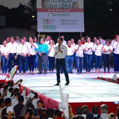 En su cierre de campaña junto a Mauricio, dice Remberto Estrada tener asegurado el voto de los cancuneses