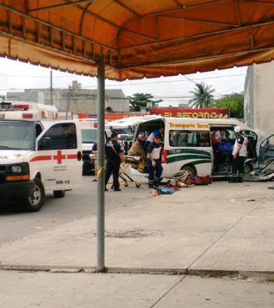 APARATOSO CHOQUE SE TORNA EN TRAGEDIA EN CANCÚN: Un bebé de 6 meses muerto y una decena de heridos tras accidente de combi del transporte urbano