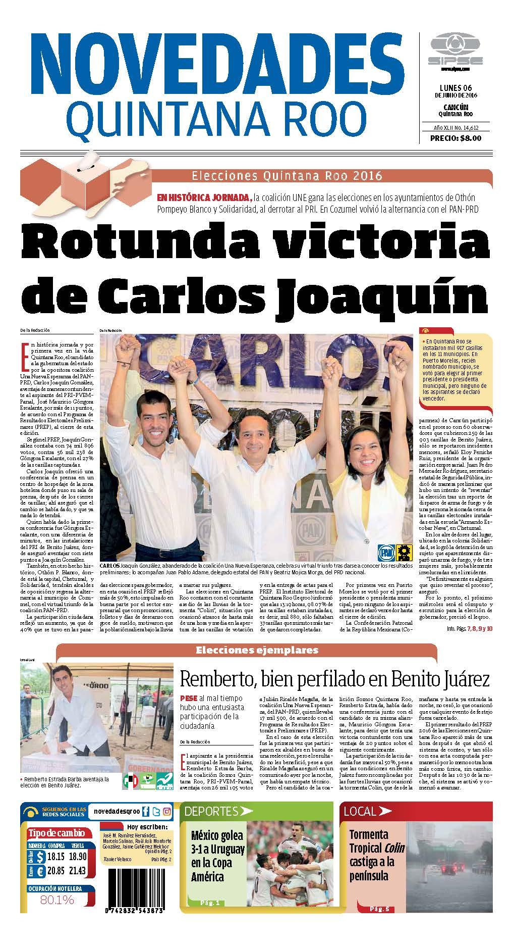 GALERÍA   ASÍ PUBLICA LA PRENSA EL TRIUNFO DE CARLOS: Portadas de periódicos impresos en Quintana Roo
