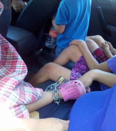 MANTENÍA ENCADENADOS A SUS HIJOS: Detienen en Cancún a mujer tras denuncia de vecinos por malos tratos a niños